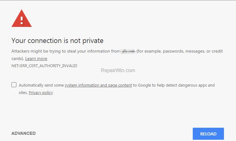 Ваше соединение не является приватным