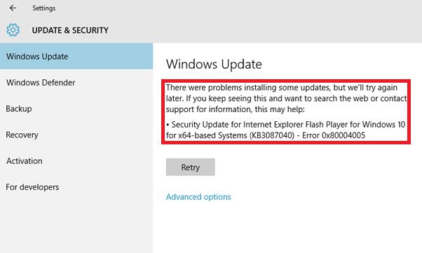 Ошибка 0x80004005 как исправить на ПК с Windows 10